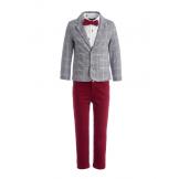 Костюм для мальчика с пиджаком в клетку бордовый