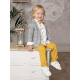 Костюм для мальчика с пиджаком в клетку желтый