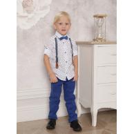 Костюм для мальчика на подтяжках с бабочкой синий