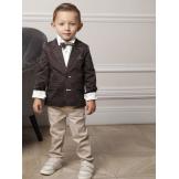 Костюм для мальчика с пиджаком в горошек коричневый