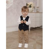 Костюм для мальчика с жилетом на пуговицах синий