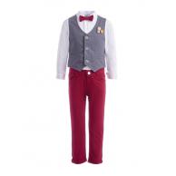 Костюм для мальчика с бабочкой и украшением на жилете, бордовый