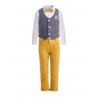 Костюм для мальчика с бабочкой и украшением на жилете, желтый