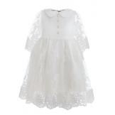 Платье нарядное с рукавом 3/4 кремовое