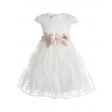 Платье нарядное с коротким рукавом кремовое