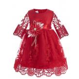 Платье бальное с коротким рукавом красное
