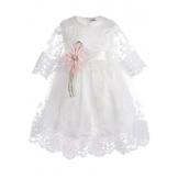Платье бальное с коротким рукавом кремовое
