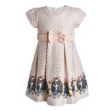 Нарядное платье с собачками бежевое
