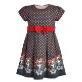 Нарядное платье с собачками красное