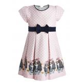 Нарядное платье с собачками розовое