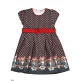 Нарядное платье с собачками темно-серое