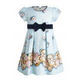 Милое платье с мишками голубое