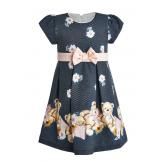 Милое платье с мишками темно-серое
