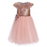 Стильное платье с пайетками розовое