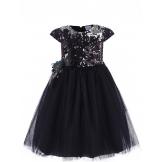 Стильное платье с пайетками черное