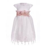 Платье с большими цветами белое