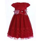Платье с большими цветами красное