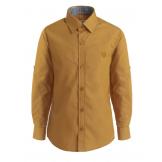Рубашка для мальчика однотонная с вышивкой, горчичная
