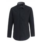 Рубашка для мальчика однотонная с вышивкой, черная