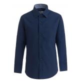 Рубашка для мальчика однотонная с вышивкой, темно-синяя