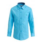 Рубашка для мальчика однотонная с вышивкой, бирюзовая