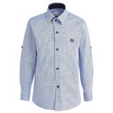 """Рубашка для мальчика с узором """"решетка"""", голубая"""