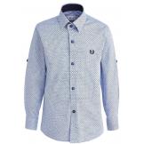 """Рубашка для мальчика на пуговицах с узором """"решетка"""", голубая"""