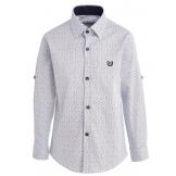 """Рубашка для мальчика с узором """"снежинка"""", синяя"""