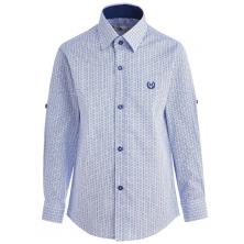 Рубашка для мальчика в кружочек, голубая