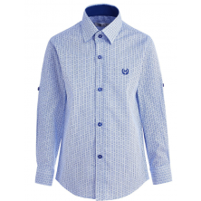 Рубашка для мальчика в кружочек, синяя