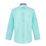 Рубашка для мальчика однотонная, бирюзовая