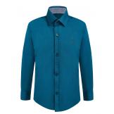 Рубашка для мальчика однотонная, сине-зеленая
