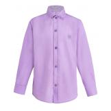 Рубашка для мальчика однотонная, сиреневая