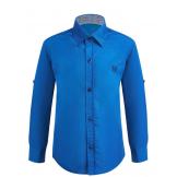 Рубашка для мальчика однотонная, ярко-синяя