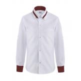 Рубашка для мальчика однотонная с цветным манжетом, бело-бордовая