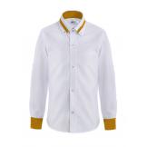 Рубашка для мальчика однотонная с цветным манжетом, бело-горчичная