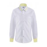 Рубашка для мальчика однотонная с цветным манжетом, бело-желтая