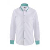 Рубашка для мальчика однотонная с цветным манжетом, бело-зеленая