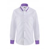 Рубашка для мальчика однотонная с цветным манжетом, бело-фиолетовая