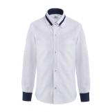 Рубашка для мальчика однотонная с цветным манжетом, белая