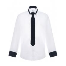 Рубашка для мальчика на пуговицах однотонная с цветным манжетом, белая