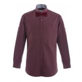 Рубашка для мальчика однотонная с бабочкой, бордовая