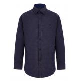 Рубашка для мальчика с геометрическим узором, темно-синяя