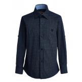 """Рубашка для мальчика с узором """"ромб"""", синяя"""