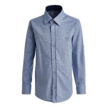 """Рубашка для мальчика на пуговицах с узором """"ромб"""", голубая"""