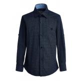 """Рубашка для мальчика на пуговицах с узором """"ромб"""", синяя"""