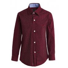 Рубашка для мальчика в мелкий горошек, бордовая