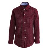 Рубашка для мальчика на пуговицах в мелкий горошек, бордовая