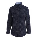 Рубашка для мальчика в мелкий горошек, темно-синяя