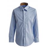 Рубашка для мальчика на пуговицах в мелкий горошек, голубая